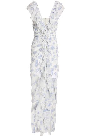 ALICE McCALL Off Duty ruffle-trimmed flocked chiffon gown