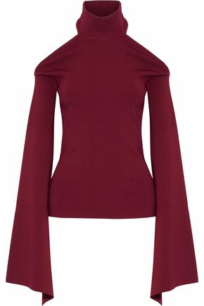 SOLACE LONDON Lydie cutout stretch-knit turtleneck top