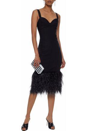 CINQ À SEPT Sabine feather-trimmed ponte dress