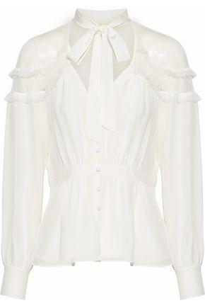 CINQ À SEPT Peyton pussy-bow point d'esprit-paneled silk blouse