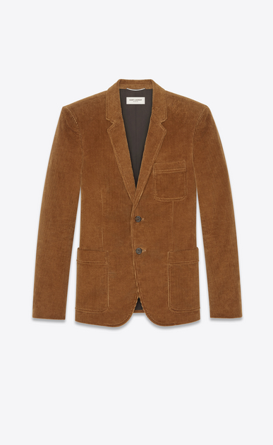SAINT LAURENT Blazer Jacket Man Jacket in camel corduroy a_V4