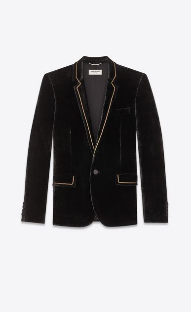 SAINT LAURENT Blazer Jacket Man Jacket in black print velvet a_V4