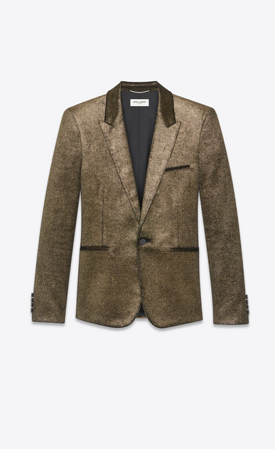 SAINT LAURENT Blazer Jacket Man Jacket in gold glitter velvet a_V4