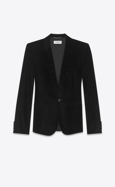 SAINT LAURENT Blazer Jacket Man Jacket in black velvet a_V4