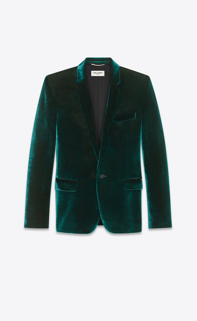 SAINT LAURENT Blazer Jacket Man Jacket in striped teal blue velvet a_V4