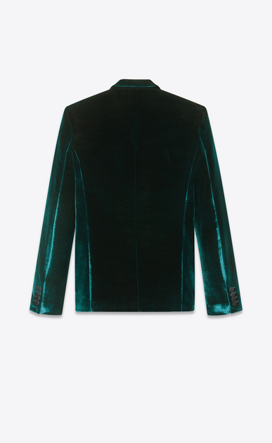 SAINT LAURENT Blazer Jacket Man Jacket in striped teal blue velvet b_V4