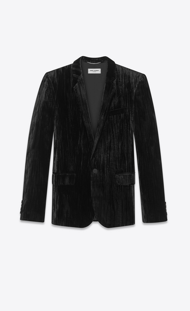 SAINT LAURENT Blazer Jacket Man Jacket in crinkled black velvet a_V4