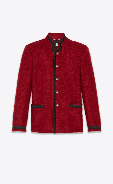 SAINT LAURENT Blazer Jacket Man Officer jacket in red mohair a_V4