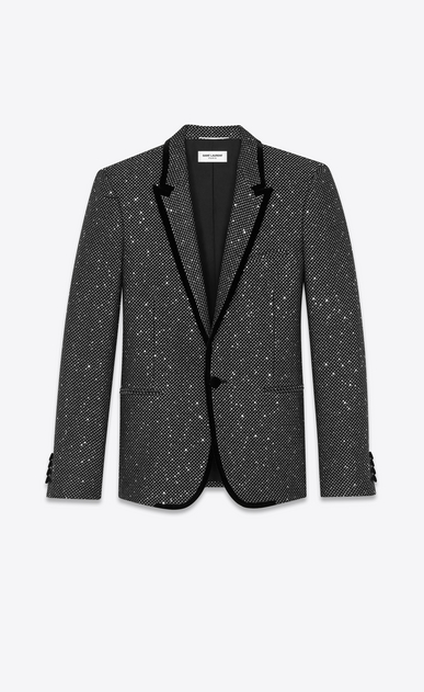 SAINT LAURENT Blazer Uomo Giacca lunga in tweed glitterato nero e color argento a_V4