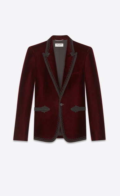 SAINT LAURENT Blazer Jacket Man Embroidered jacket in burgundy velvet a_V4
