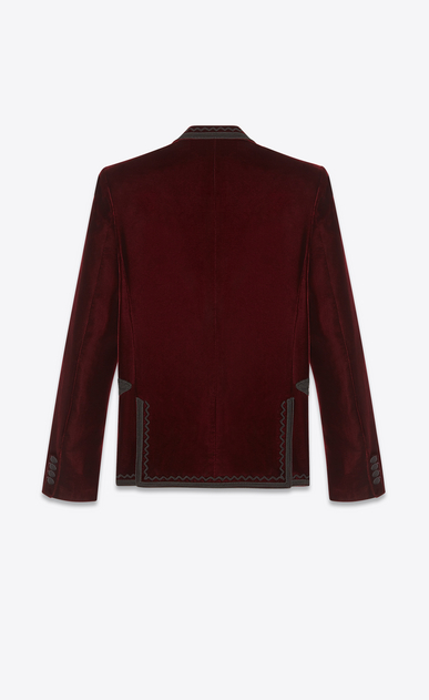 SAINT LAURENT Blazer Jacket Man Embroidered jacket in burgundy velvet b_V4