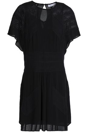IRO Embroidered crepe de chine mini dress