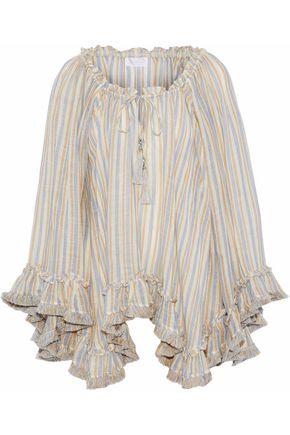ZIMMERMANN Ruffled striped linen and cotton-blend gauze top