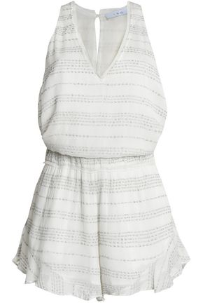 IRO Ruffled embroidered gauze playsuit