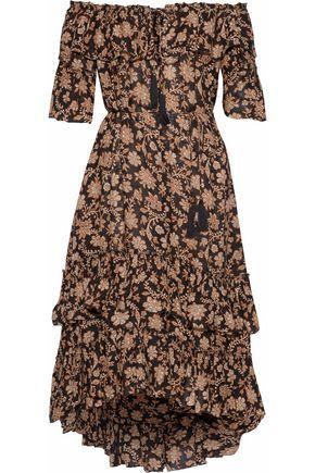 ZIMMERMANN Tulsi off-the-shoulder tiered floral-print gauze midi dress