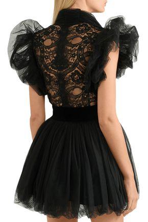 e6dba2297 Tutu lace-paneled ruffled tulle mini dress | RONALD VAN DER KEMP ...