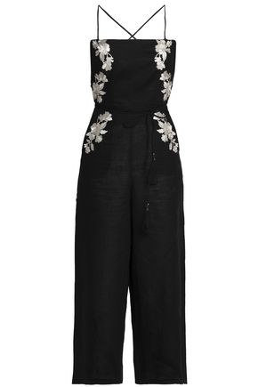 ZIMMERMANN Open-back metallic embroidered linen wide-leg jumpsuit
