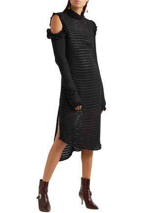 MAGDA BUTRYM Mendoza cutout crocheted silk and leather midi dress
