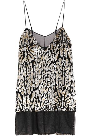 ADAM LIPPES Flocked silk-chiffon camisole