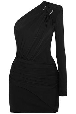 MUGLER One-shoulder embellished stretch-jersey mini dress