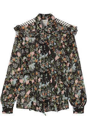 PREEN by THORNTON BREGAZZI Annie pussy-bow printed silk-chiffon blouse