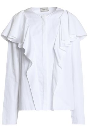 LANVIN Ruffled cotton-faille blouse
