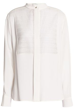 LANVIN Broderie anglaise-paneled crepe de chine shirt