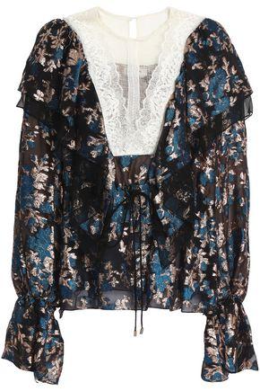 LANVIN Lace-paneled ruffle-trimmed fil coupé chiffon blouse