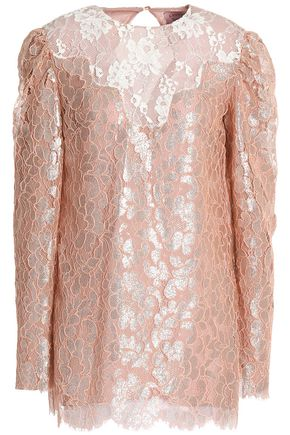 LANVIN Paneled metallic corded lace top
