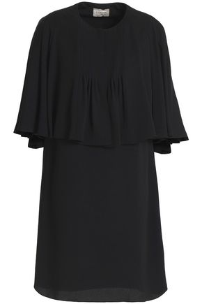 WOMAN CAPE-EFFECT CREPE MINI DRESS BLACK