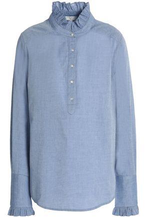 JOIE Reka ruffle-trimmed cotton-chambray tunic