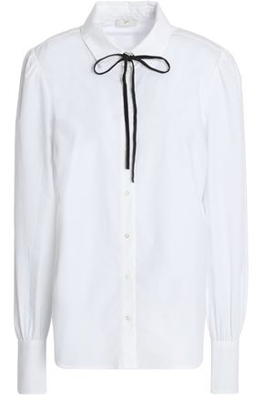 JOIE Bow-detailed cotton-poplin shirt