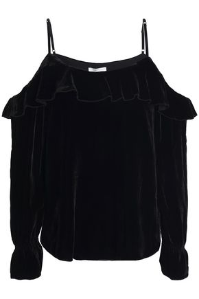 JOIE Alyse cold-shoulder ruffle-trimmed velvet blouse