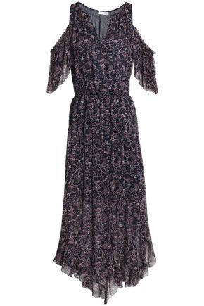 JOIE Cold-shoulder printed silk-georgette dress
