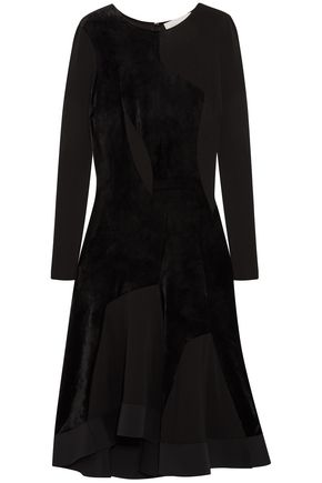 ESTEBAN CORTAZAR Full Circle stretch knit-paneled velvet dress
