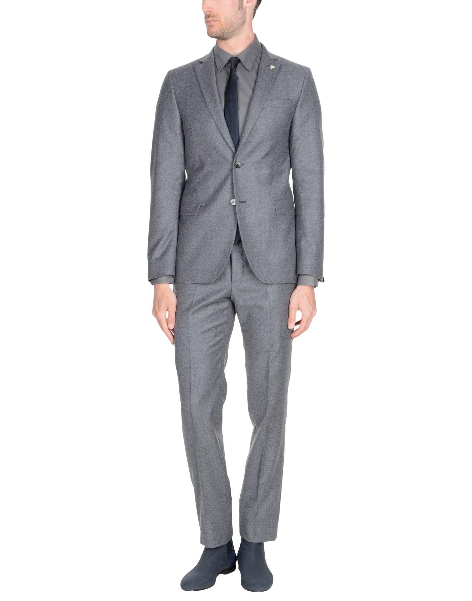 《送料無料》MANUEL RITZ メンズ スーツ 鉛色 48 バージンウール 100%