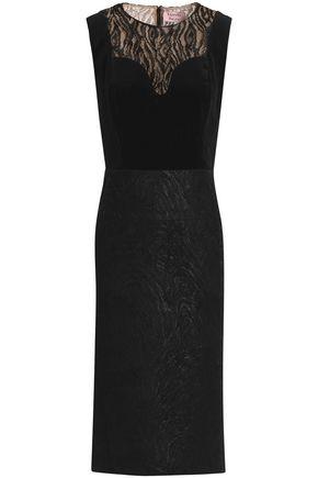 LANVIN Metallic lace and velvet-paneled wool-blend jacquard dress