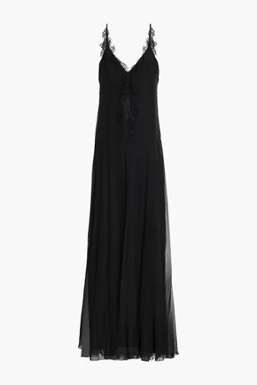 LANVIN Lace-trimmed fluted chiffon gown