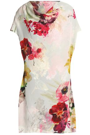 LANVIN Convertible floral-print silk crepe de chine mini dress