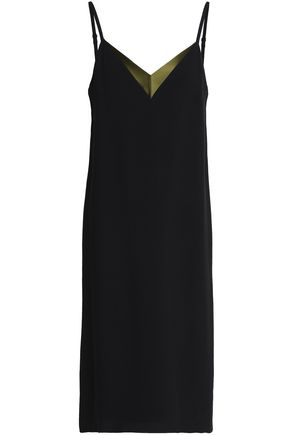 LANVIN Satin-trimmed crepe slip dress