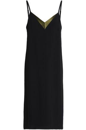 LANVIN Satin-trimmed crepe slip dress