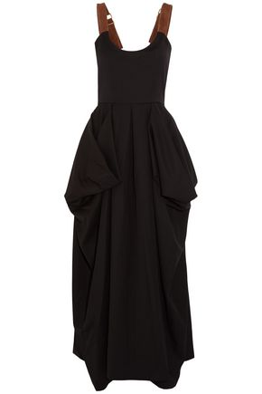 J.W.ANDERSON Suede-trimmed draped twill maxi dress