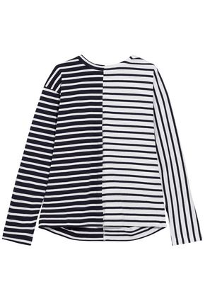 SACAI Lace-up paneled striped cotton top