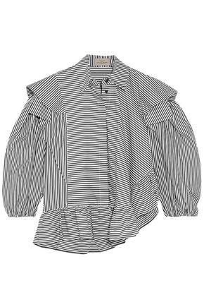 PREEN by THORNTON BREGAZZI Sinead ruffled striped cotton-poplin blouse