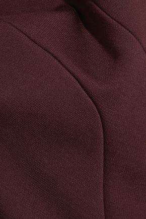 ATLEIN Asymmetric paneled stretch-knit midi dress