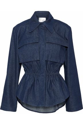 SOLACE LONDON Gala gathered denim shirt