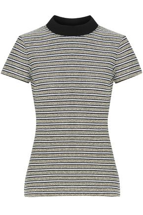 PROENZA SCHOULER Striped cotton-blend bouclé T-shirt