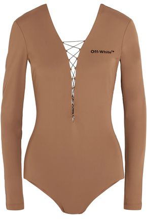 OFF-WHITE™ Lace-up appliquéd stretch-jersey bodysuit