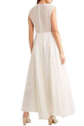 A.W.A.K.E. Floral-appliquéd cotton-organdy maxi dress