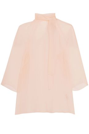MERCHANT ARCHIVE Pussy-bow silk-gauze blouse